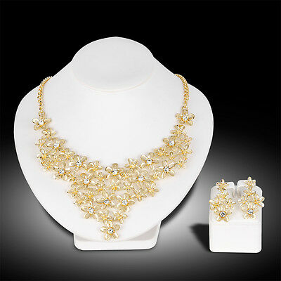 Bridal Happiness Wedding Party Prom Crystal Necklace Earrings Jewelry Set