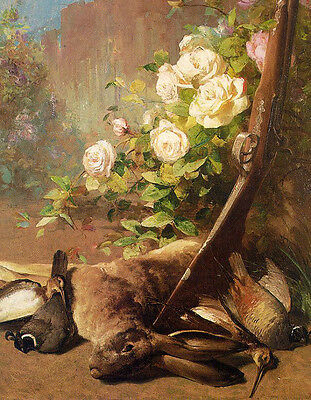 Oil painting Hill Thomas Hand painted - California Game death rabbit birds