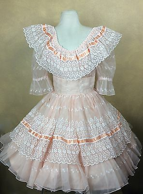 Fancy Square Dance Dress Sheer Peach & White Eyelet Organza over Cotton Size 8