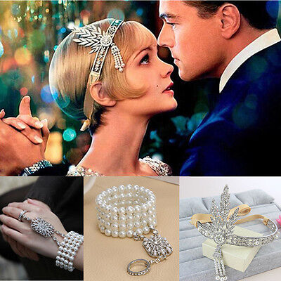 Great Gatsby 1920s Vintage Bracelet Headpiece Bridal Pearls Headband Jewelry Set