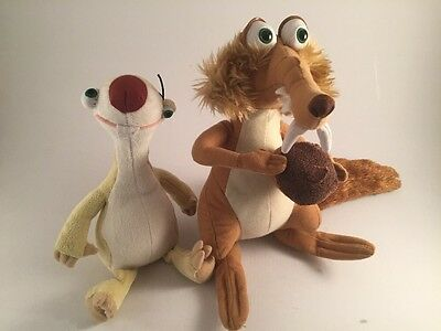 Dreamworks Ice Age Plush Sid The Sloth & Scrat The Squirrel Play By Play