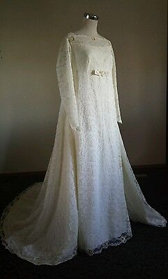 Vtg 50's Ivory Lace Empire Structured  Wedding Dress V Shape Chapel Train S 8