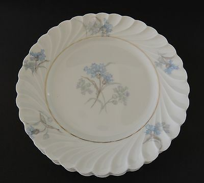 Haviland Limoges Bergere Gold Verge 3 Bread and Butter Plates Blue Flowers