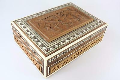 Vintage Anglo Indian Hoshiarpur Wooden Decorated Box With Vishnu Scene