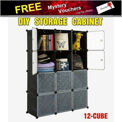 DIY 12 Cube Storage Cupboard Cabinet Wardrobe Black Shoe Rack Toy Book Shelf AU