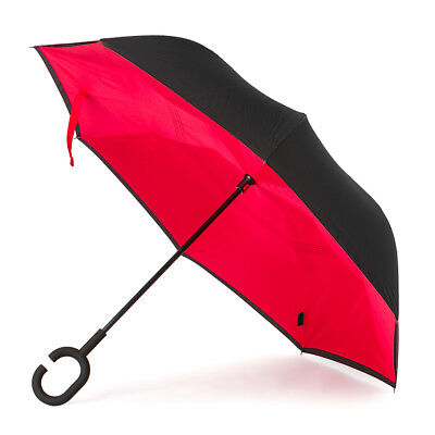 NEW Clifton Outside-In Inverted Red/Black Umbrella