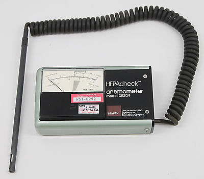 DRYDEN Engineering Model DE209 HEPAcheck Anemometer