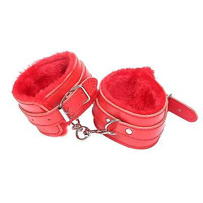 2pc Red Nylon Restraint Handcuffs Ankle Cuffs Adjustable Size Length New Style