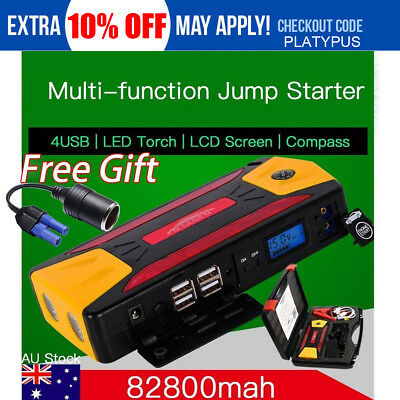 82800mAh Diesel Car 12V Jump Starter Booster Battery Power Bank 4USB Charger LED