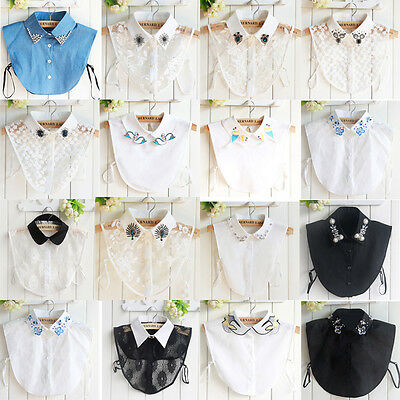 Women Cotton Lace Detachable Lapel Shirt Fake False Collar Choker Necklace AU