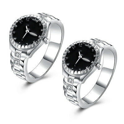 Elegant Fashion Jewelry Silver Plated Zircon Round Watch Shape Finger Ring New