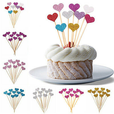 Neu Glitter Heart Muffin Cake Toppers Pick Wedding Party Pack of 10 Pcs