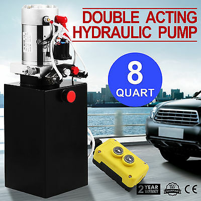 8 Quart Double Acting Hydraulic Pump Dump Trailer Dump Truck Control Kit 12V