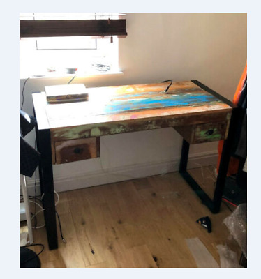 Industrial Computer Desk Reclaimed Wood Furniture Retro Vintage Writing Table