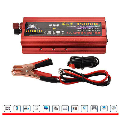 1500W Converter Peak Power Inverter Modified Sine Wave Car DC 12V/24V to AC 220V