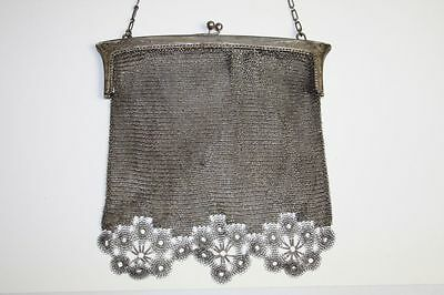 Ladies Mesh Bag. Sterling Silver. Art Nouveau Style. Spain. Circa 1900.