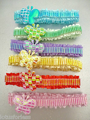 Super Cute Sparkly Butterfly Satin Baby Headband Hair Band 6 COLOURS *NEW*