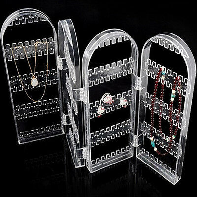 Clear Earrings Ear Studs Necklace Jewelry Display Rack Stand Organizer Holder MG