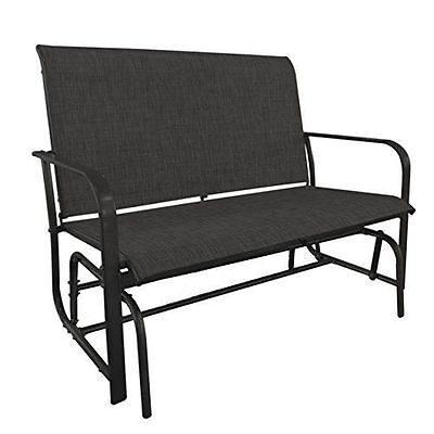 GardenKraft 15150 Double Seat Outdoor Textilene Glider Chair - Charcoal