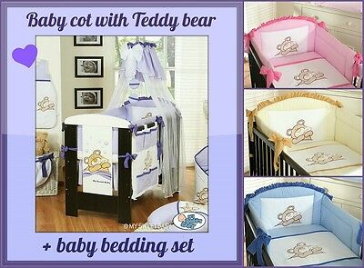 Baby Cot With Teddy Bear + Nursery Baby Bedding Set 6 Pieces