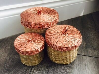 Modern Seagrass Wicker Lidded Storage Basket Set 3 Bathroom Bedroom Rattan Home