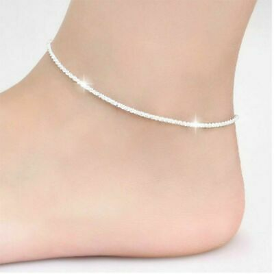 Women Ankle Bracelet 925Sterling Silver Anklet Foot Jewelry Chain Beach Charming