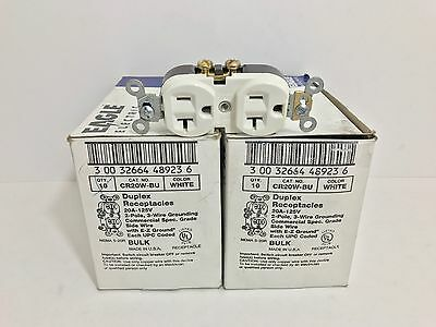 (20) New! Eagle Electric White Duplex Receptacles Cr20W-Bu 20A 125V