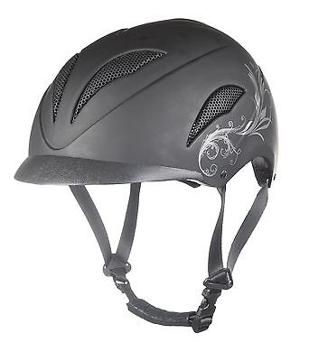 HKM Perfection Equestrian Breathable Adjustable Side Print Horse Riding Helmet