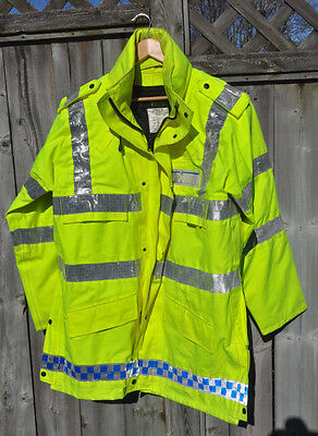 British Police High-Visibility Gortex Anorak Jacket Water Proof Men's Large Long