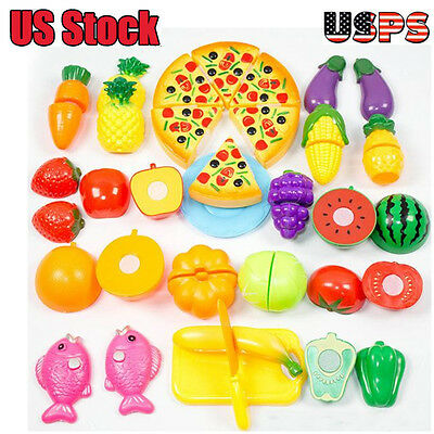 24 Pieces Kitchen Dinner Cutting Treats Fun Play Food Set Living Toys for Kids