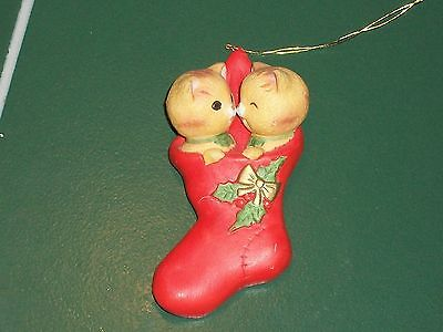 Enesco Christmas Porcelain Ornament Two Tabby Cats Kittens in a Stocking E-6411