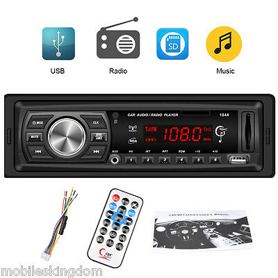 1044 Coche 1 DIN Digital Estéreo Reproductor Medios MP3 FM Radio AUX SD MMC USB