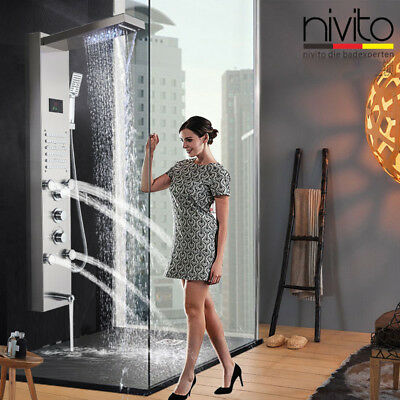 POIQIHY Black Shower Panel Tower Rain& Waterfall W/Massager Body System Jets