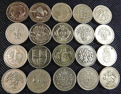 1 Pound Coin Collection 20 Pc SET - 20 x £1 One Pound Coins