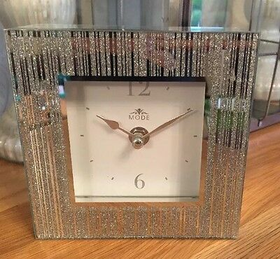 Silver Glitter Frame Bling Contemporary Mantle Clock Glass New Table Square 14CM