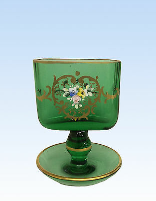 Victorian Pedestal Gilded & Hand Painted Green Glass Toothpick/cigarette Holder