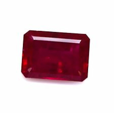 Lab Created Synthetic Ruby With visible inclusions Octagon 14x10mm Loose Stones