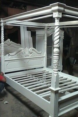 Mahogany Queen Anne Style 4 Poster 5' King Size Canopy Bed Antique White New