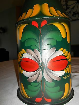 Folk Toleware Milk Can Pennsylvania Dutch Design Green Red Yellow Artist Signed