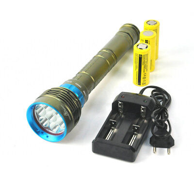 Underwater 200m 25000LM 7x XM-L2 LED Scuba Diving Flashlight Torch+26650+Charger
