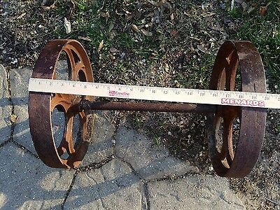 Vintage Old Industrial Antique Factory Cart Metal Wheels