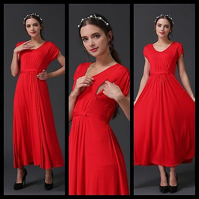 Sale! New Red Maternity Breastfeeding Nursing Maxi Dress Size S M L 10 12 14 16