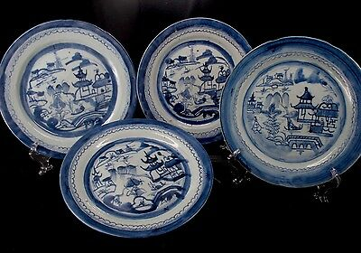 Antique 18th Century Chinese Export Blue Canton Four (4) Dinner Plates 10""