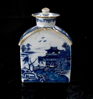 Antique 18th Century Chinese Export Blue White Canton Tea Caddy