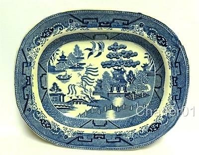 GEORGIAN POTTERY Blue & White Serving Platter with Willow pattern