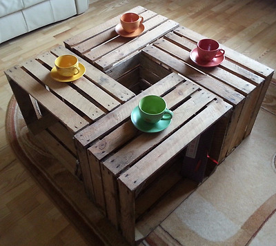 6 Strong&Solid Vintage Wooden Fruit Apple Crates Boxes Ground and Cleaned!