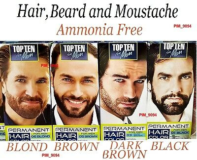 TOP TEN Permanent Hair Beard and Moustache Color FOR MEN Ammonia Free - 4 Shades
