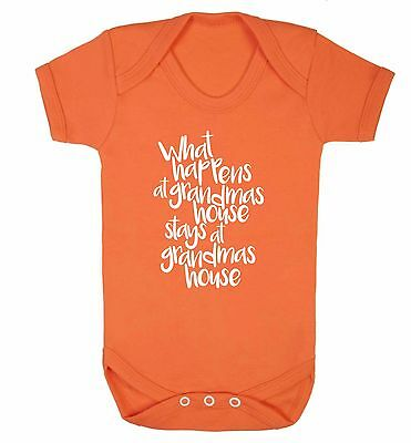What happens at grandma's house baby vest grandson grand daughter joke gift 3583