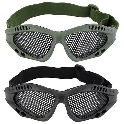 Durable Outdoor Eye Protective Safety Tactical Metal Mesh Glasses Goggle AUID