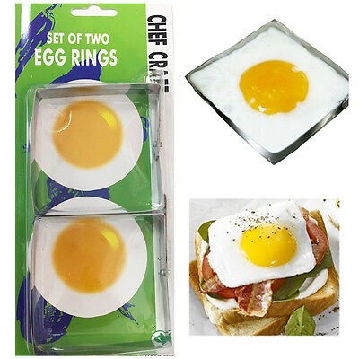 2 x SQUARE Shaped Egg Fry Rings Metal Moulds Pancakes Easy Clean Poacher Fryer